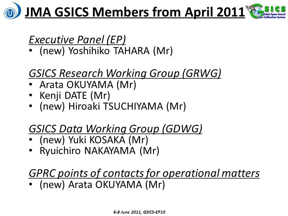 JMA GSICS Members from April 2011