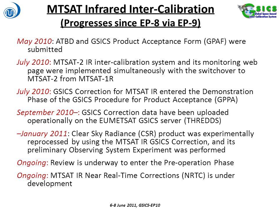 MTSAT Infrared Inter-Calibration (Progresses since EP-8 via EP-9)