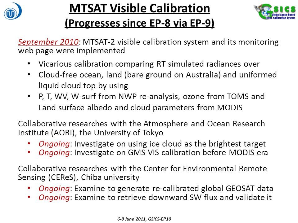 MTSAT Visible Calibration (Progresses since EP-8 via EP-9)