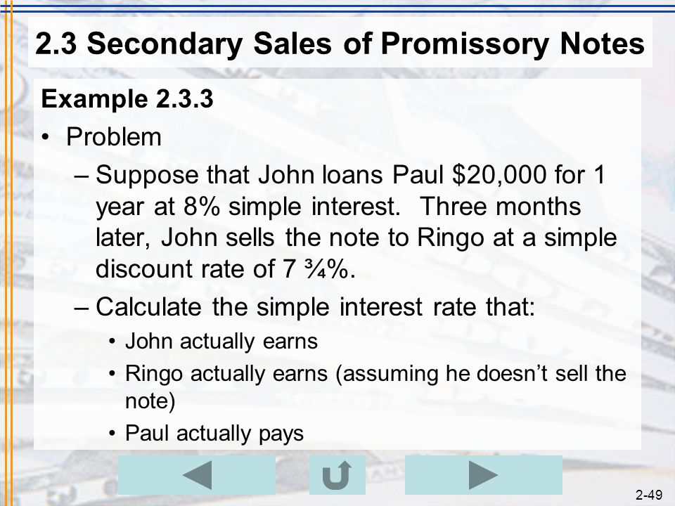 Chapter 2 Simple Discount START EXIT ppt download – Basic Promissory Note