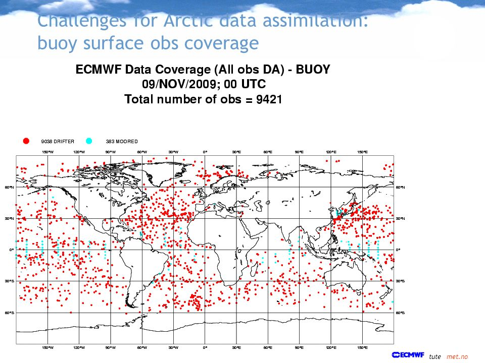 Challenges for Arctic data assimilation: buoy surface obs coverage