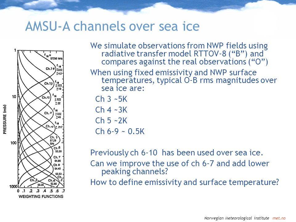 AMSU-A channels over sea ice