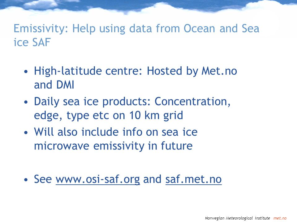 Emissivity: Help using data from Ocean and Sea ice SAF