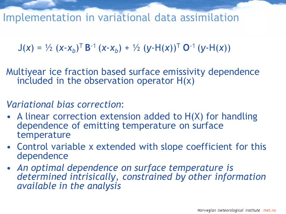 Implementation in variational data assimilation