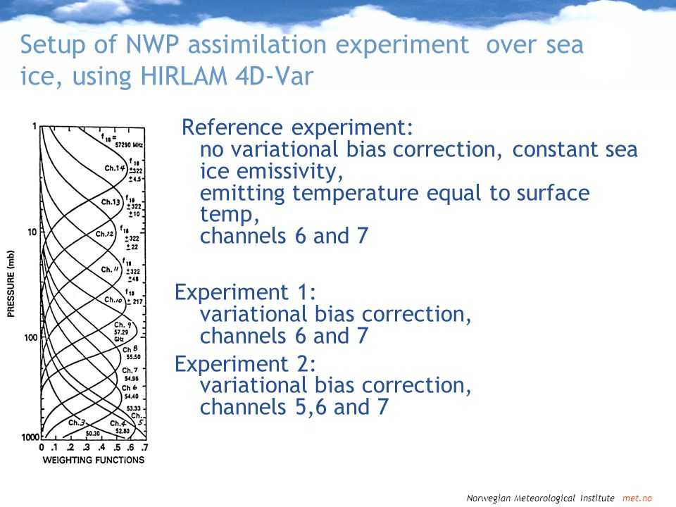 Setup of NWP assimilation experiment over sea ice, using HIRLAM 4D-Var