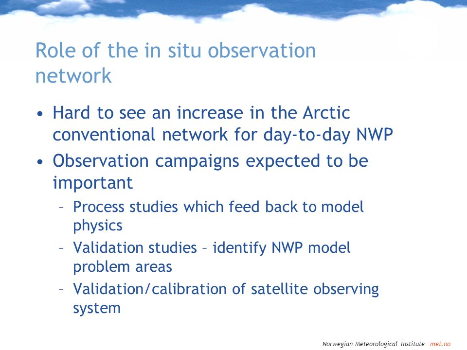 Role of the in situ observation network