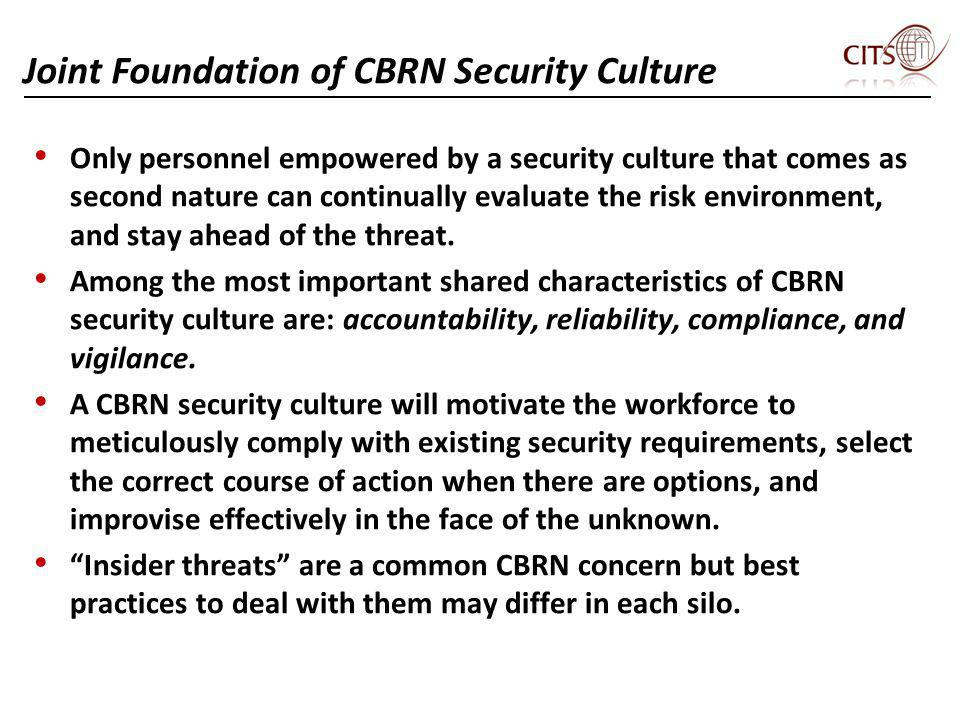Joint Foundation of CBRN Security Culture