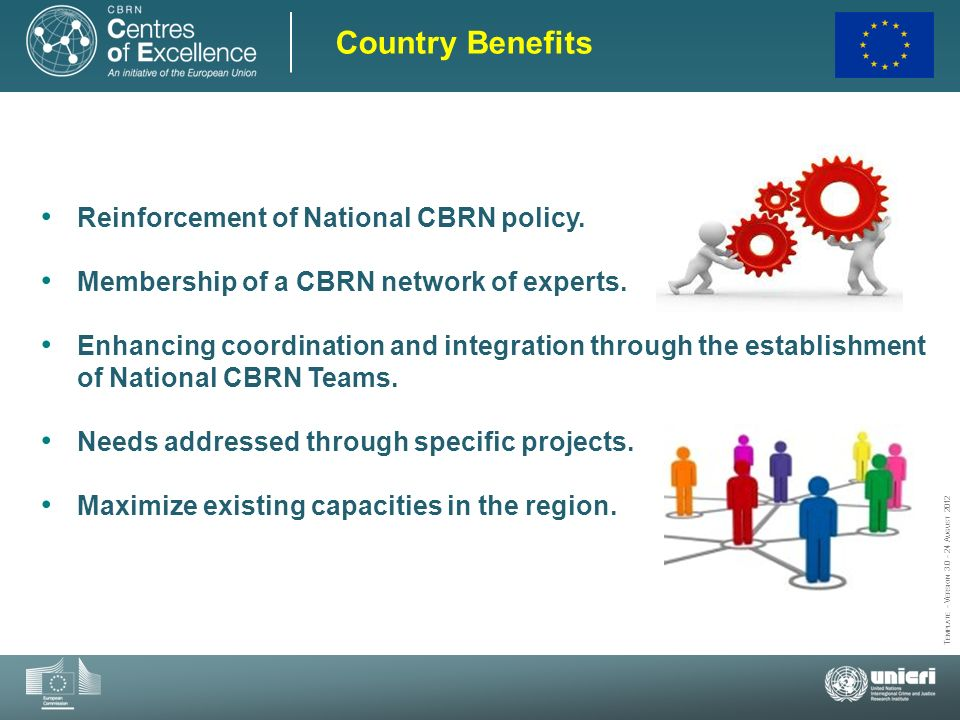 Country Benefits Reinforcement of National CBRN policy.