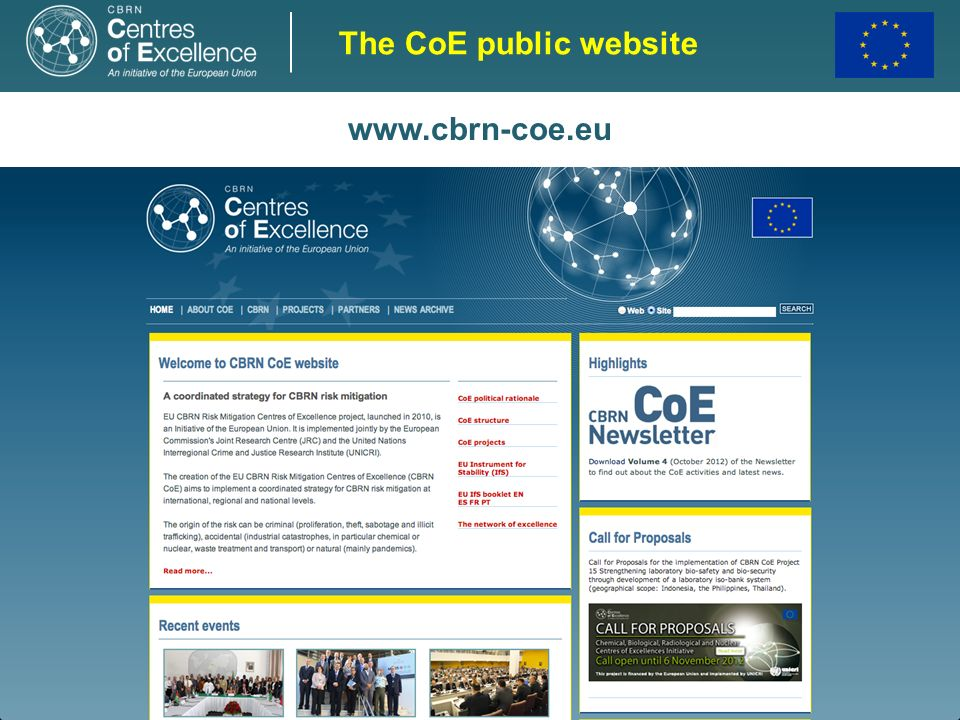 The CoE public website www.cbrn-coe.eu 19