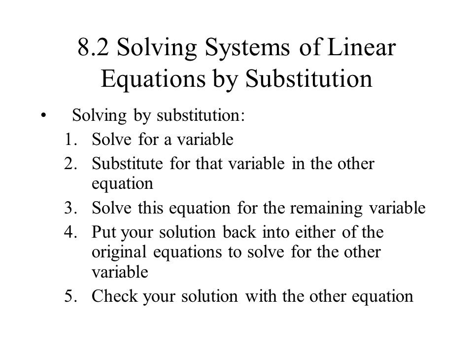 solving a systems of equations by Students learn to solve a system of linear equations by addition to solve a system of equations by addition, the goal is to cancel out one of the variables by adding the equations together students may need to multiply one or both of the equations by a number in order to set up a situation where one of the variables will cancel out when.