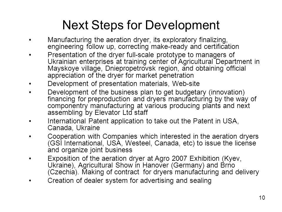 Next Steps for Development