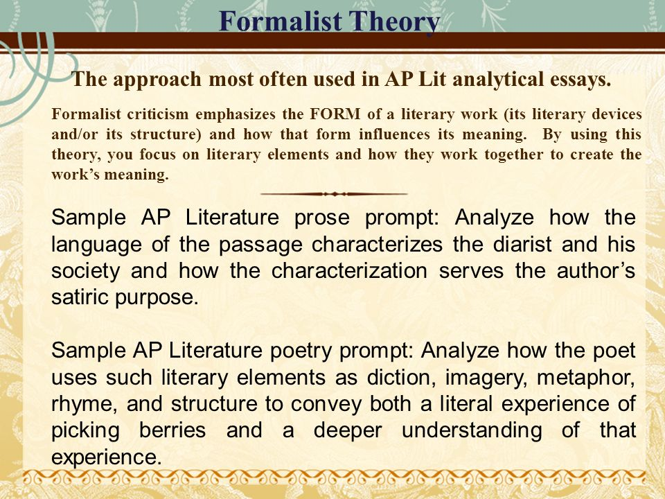 using a formalist approach in your critical essay Expert Answers