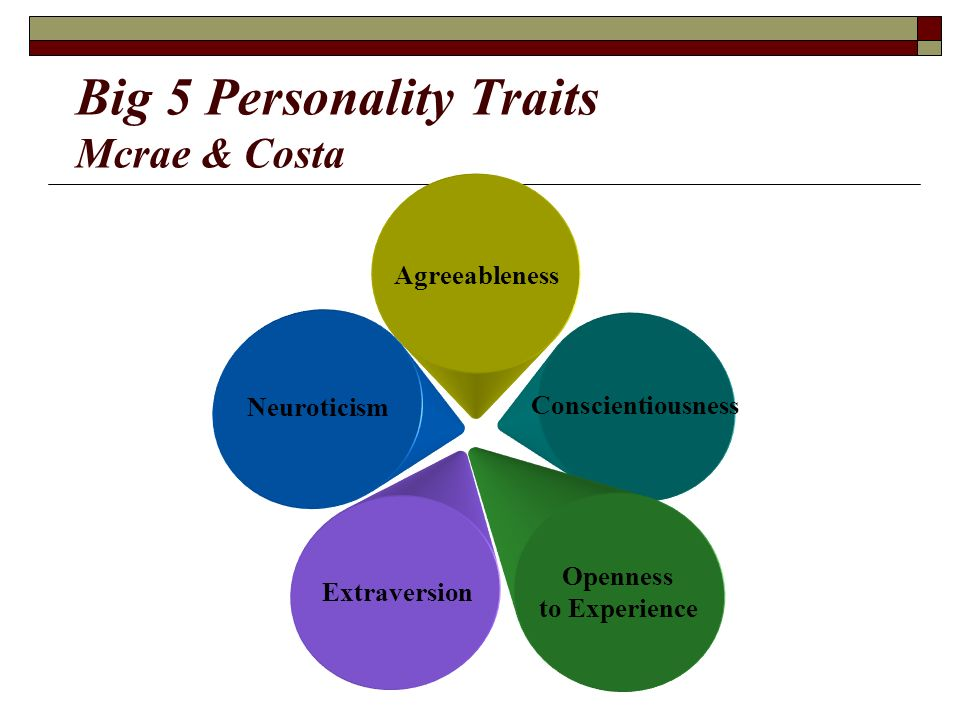 thesis on big five personality traits With regard to personality traits, the most widely accepted structure of personality, among scientists and researchers, is the ffm of personality (goldberg, 1993) according to costa.
