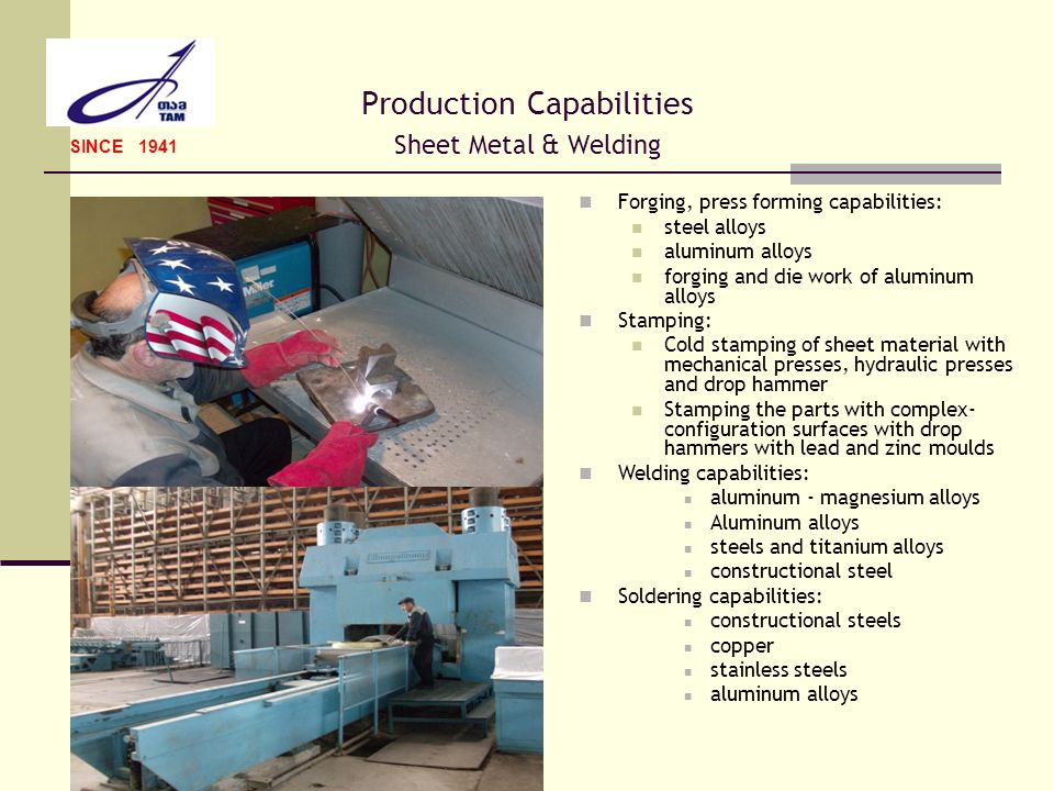 Production Capabilities Sheet Metal & Welding