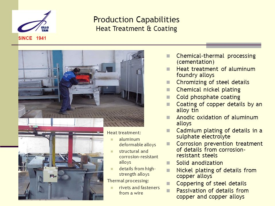Production Capabilities Heat Treatment & Coating