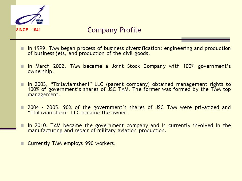 SINCE 1941 Company Profile.