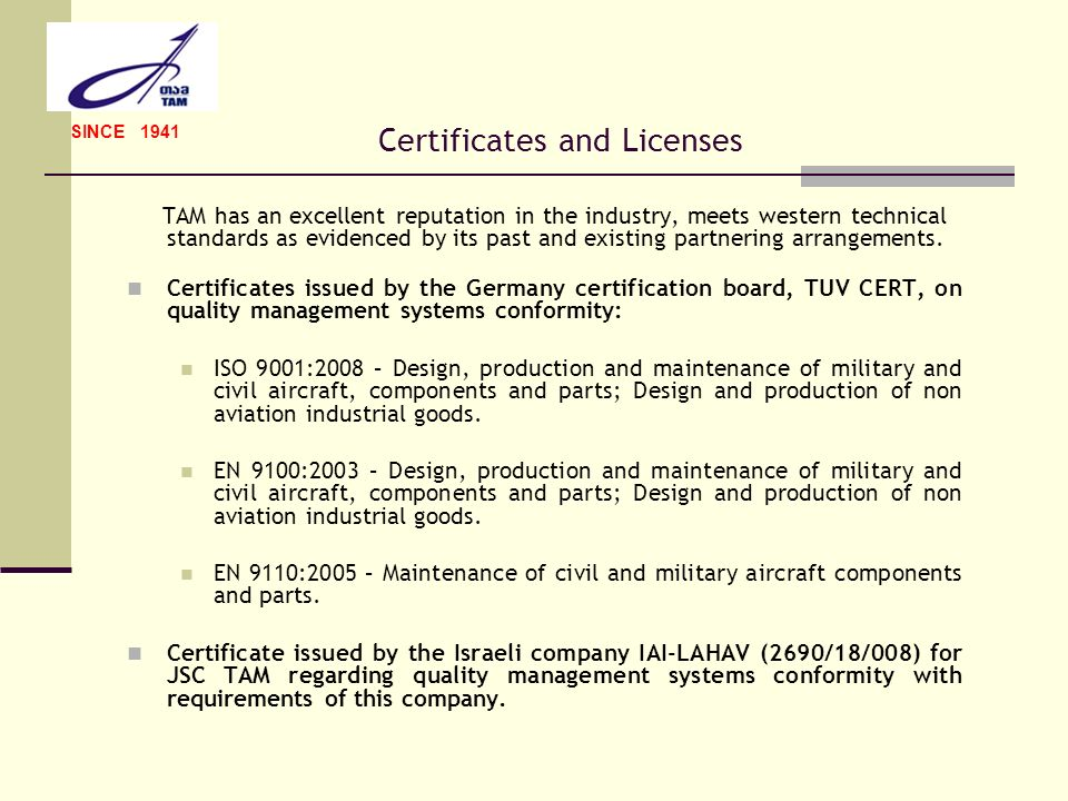 Certificates and Licenses