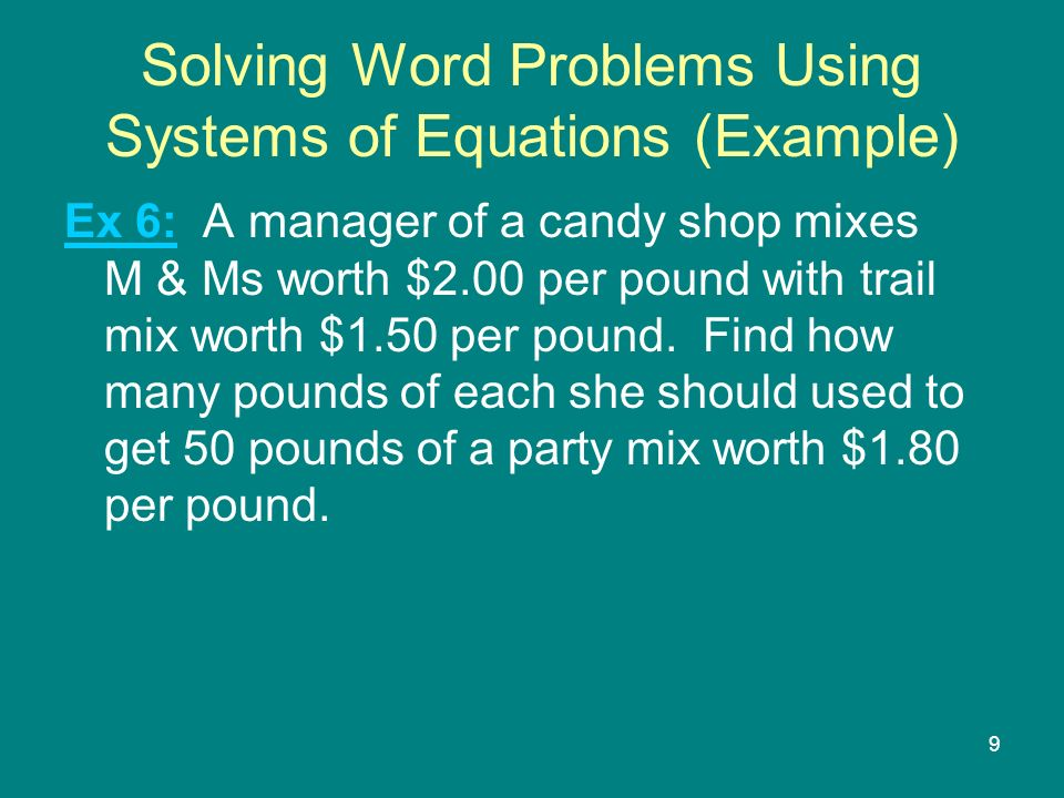 how to solve word problems using systems of equations