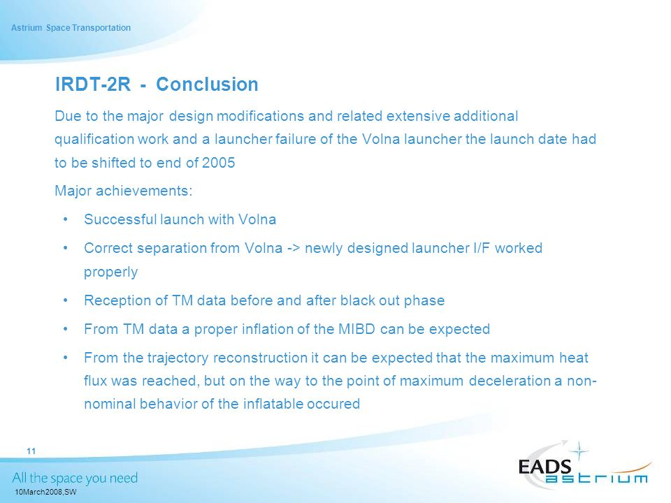 IRDT-2R - Conclusion Major achievements: Successful launch with Volna