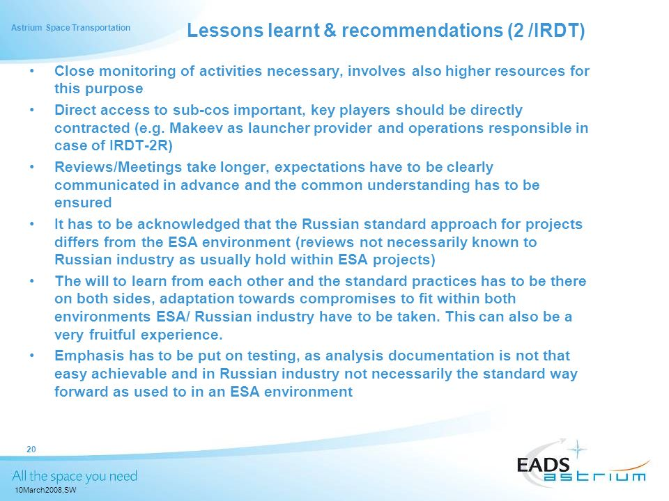 Lessons learnt & recommendations (2 /IRDT)