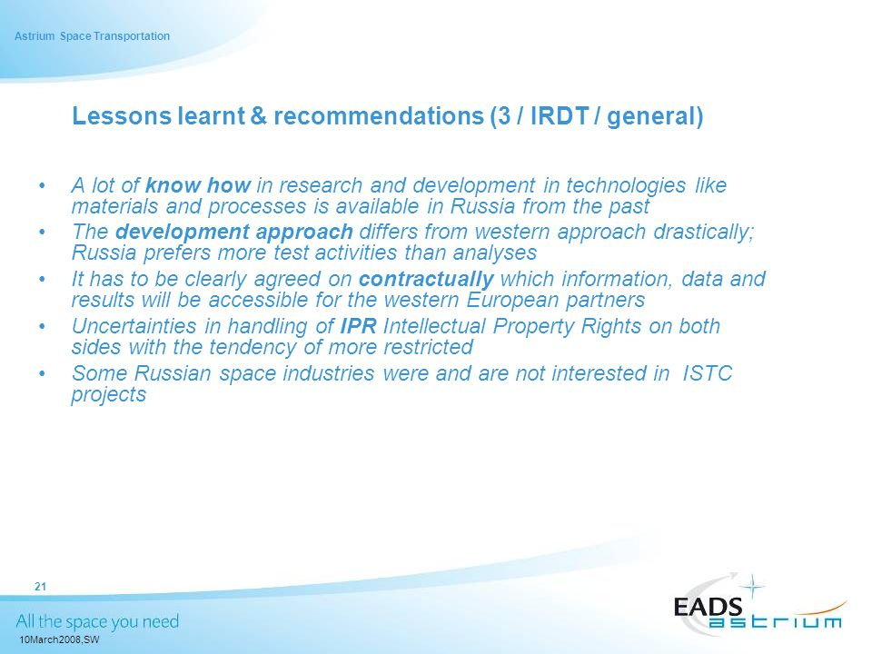 Lessons learnt & recommendations (3 / IRDT / general)