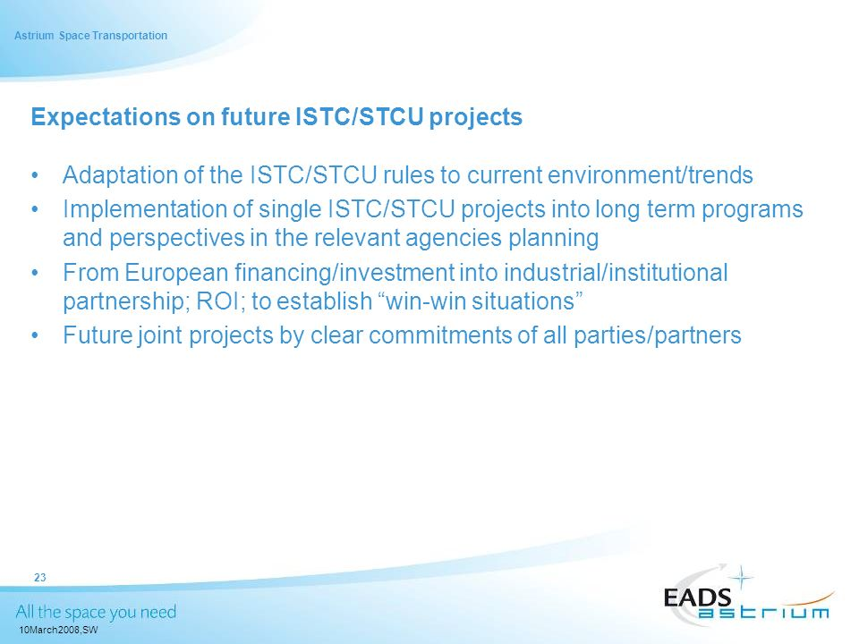 Expectations on future ISTC/STCU projects