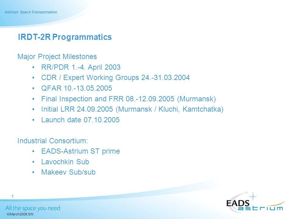 IRDT-2R Programmatics Major Project Milestones RR/PDR 1.-4. April 2003