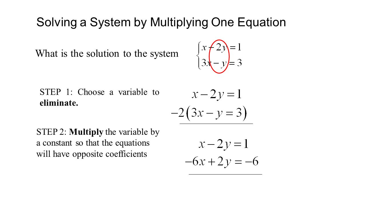 Solving a System by Multiplying One Equation