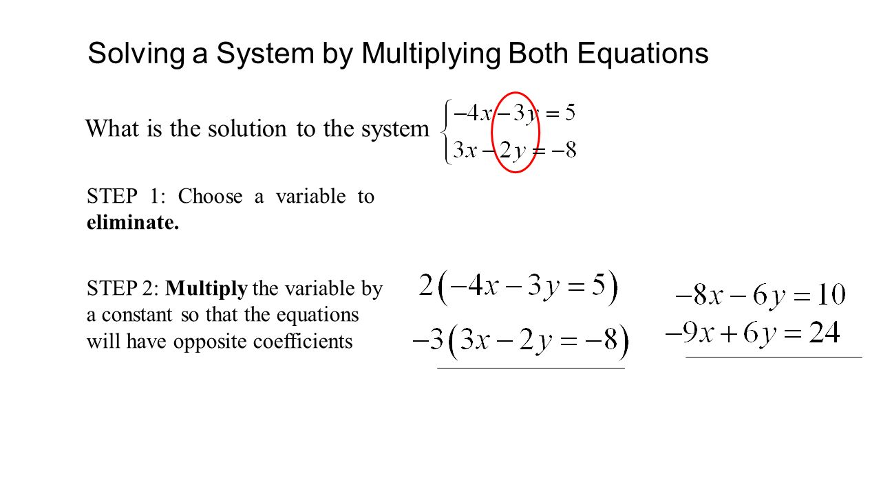 Solving a System by Multiplying Both Equations