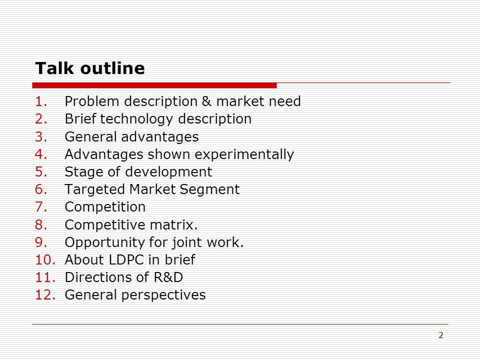 Talk outline Problem description & market need