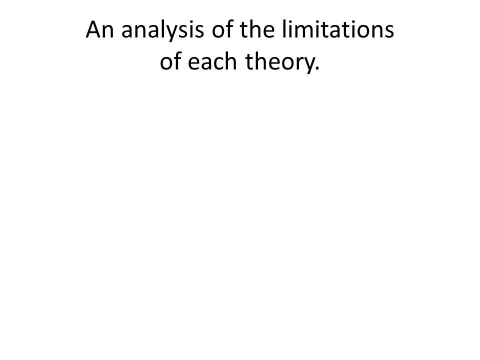 An analysis of the limitations of each theory.