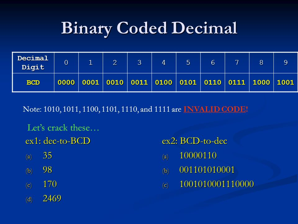 Binary Coded Decimal Let's crack these… ex1: dec-to-BCD 35 98 170 2469