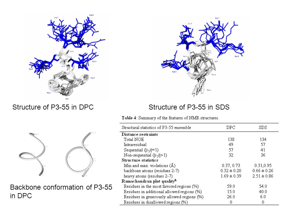 Structure of P3-55 in DPC Structure of P3-55 in SDS Backbone conformation of P3-55 in DPC