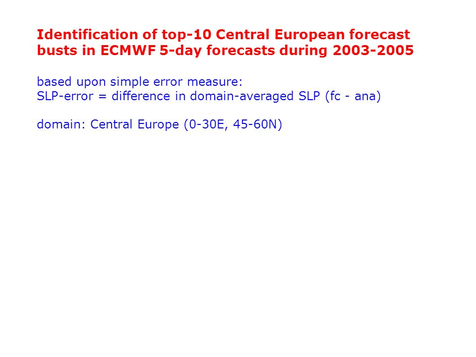 Identification of top-10 Central European forecast busts in ECMWF 5-day forecasts during 2003-2005
