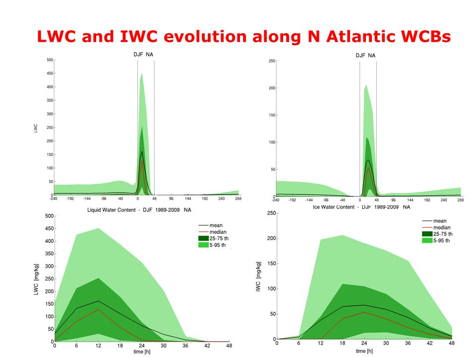 LWC and IWC evolution along N Atlantic WCBs