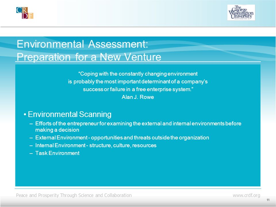 Environmental Assessment: Preparation for a New Venture