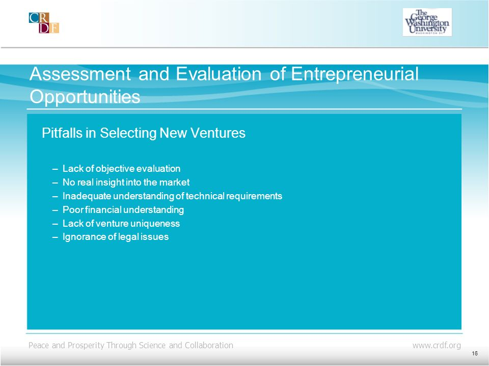 Assessment and Evaluation of Entrepreneurial Opportunities