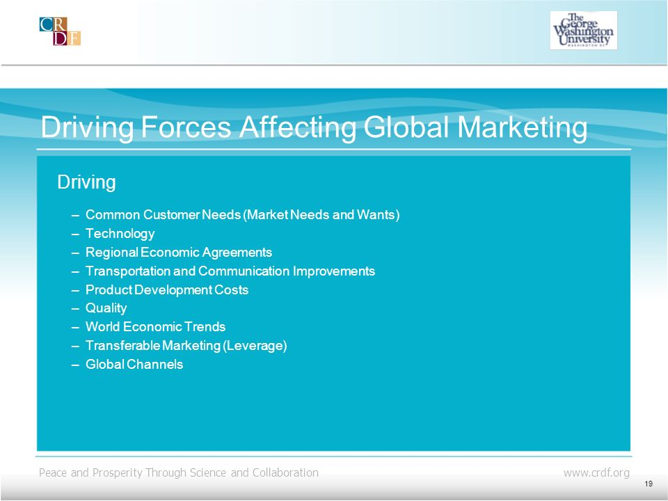Driving Forces Affecting Global Marketing