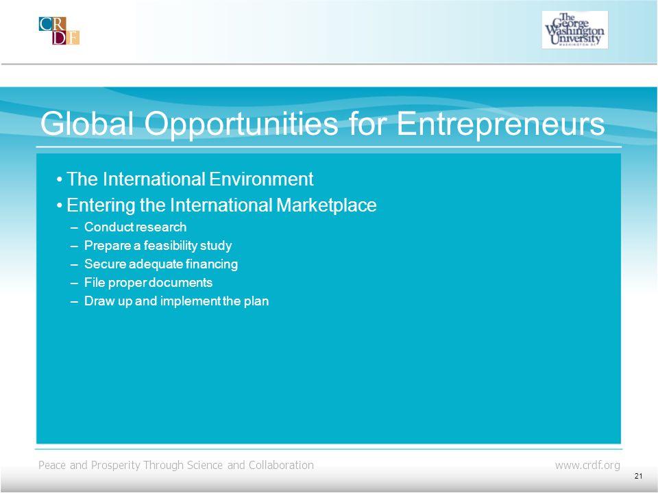 Global Opportunities for Entrepreneurs
