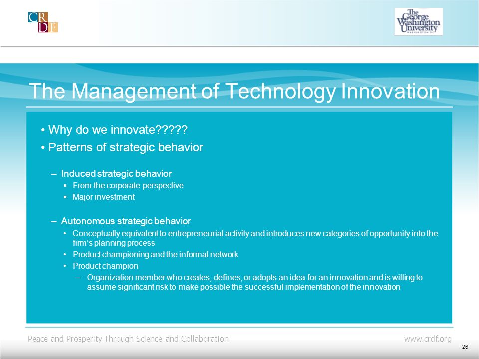 The Management of Technology Innovation
