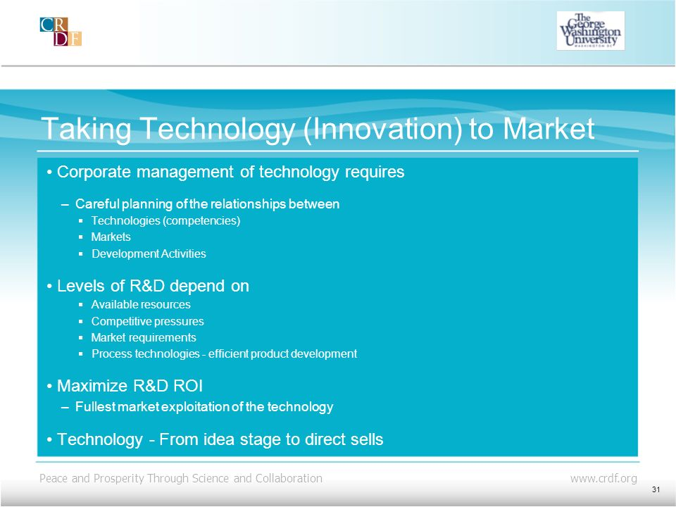 Taking Technology (Innovation) to Market
