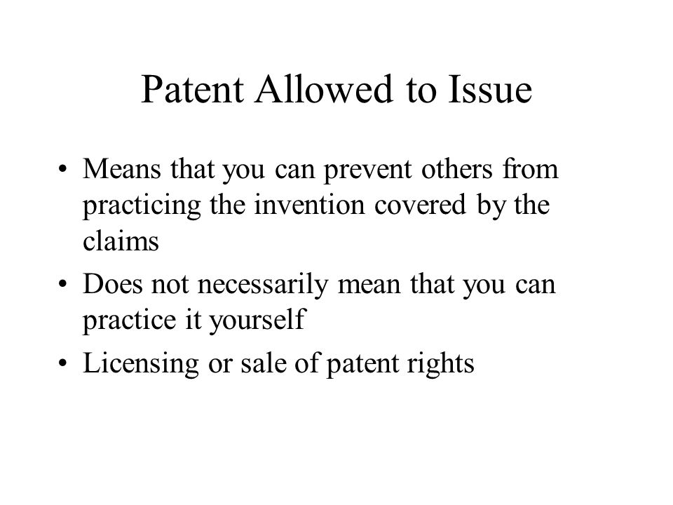 Patent Allowed to Issue