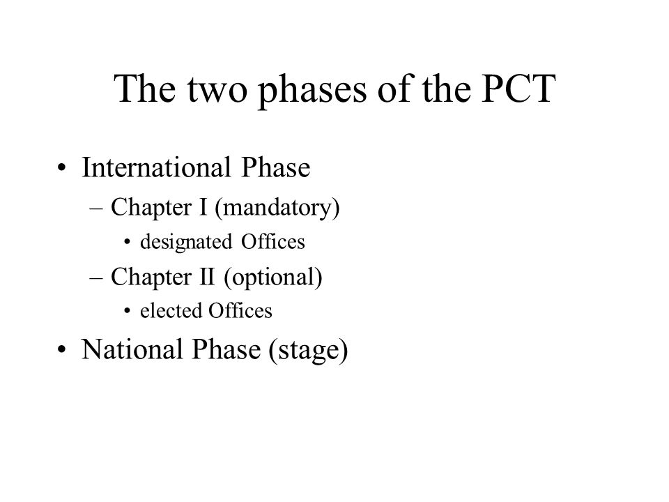 The two phases of the PCT