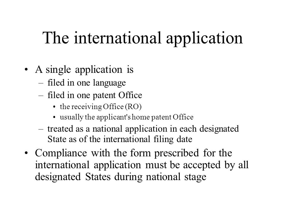 The international application