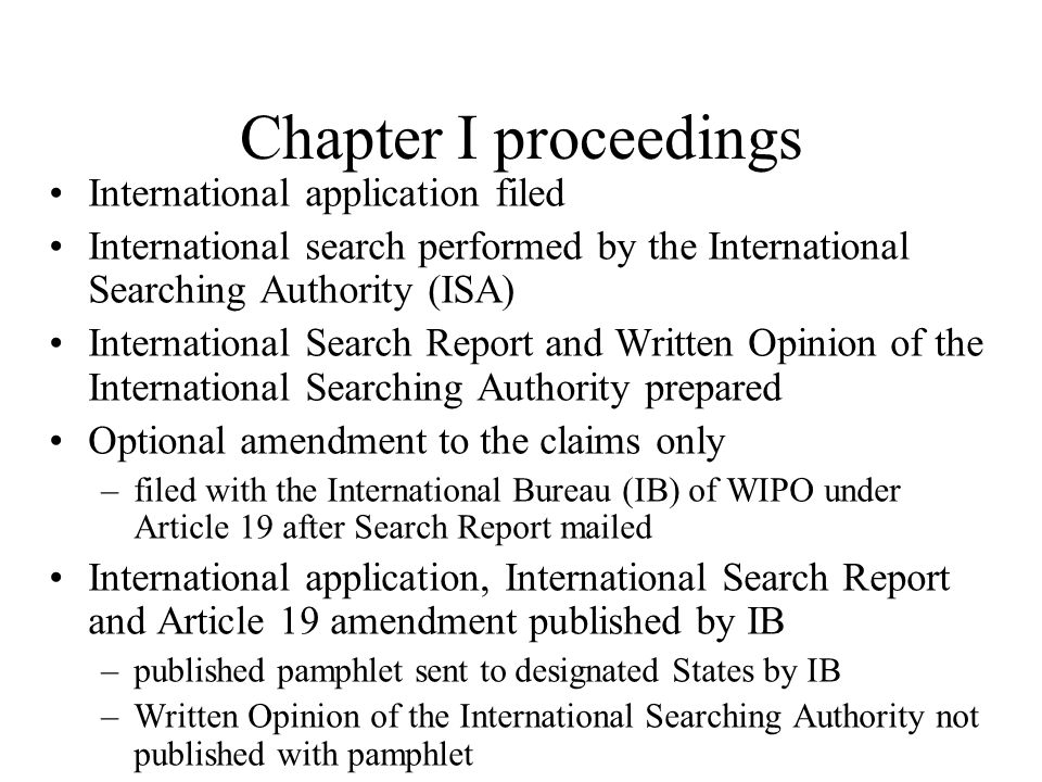 Chapter I proceedings International application filed