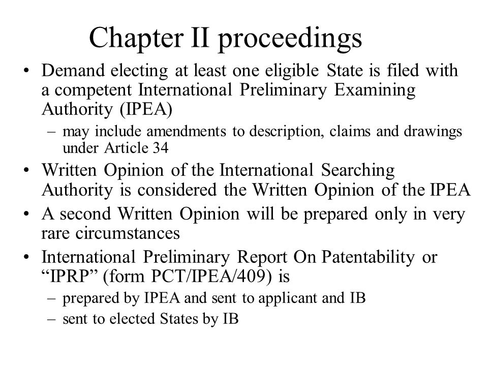 Chapter II proceedings