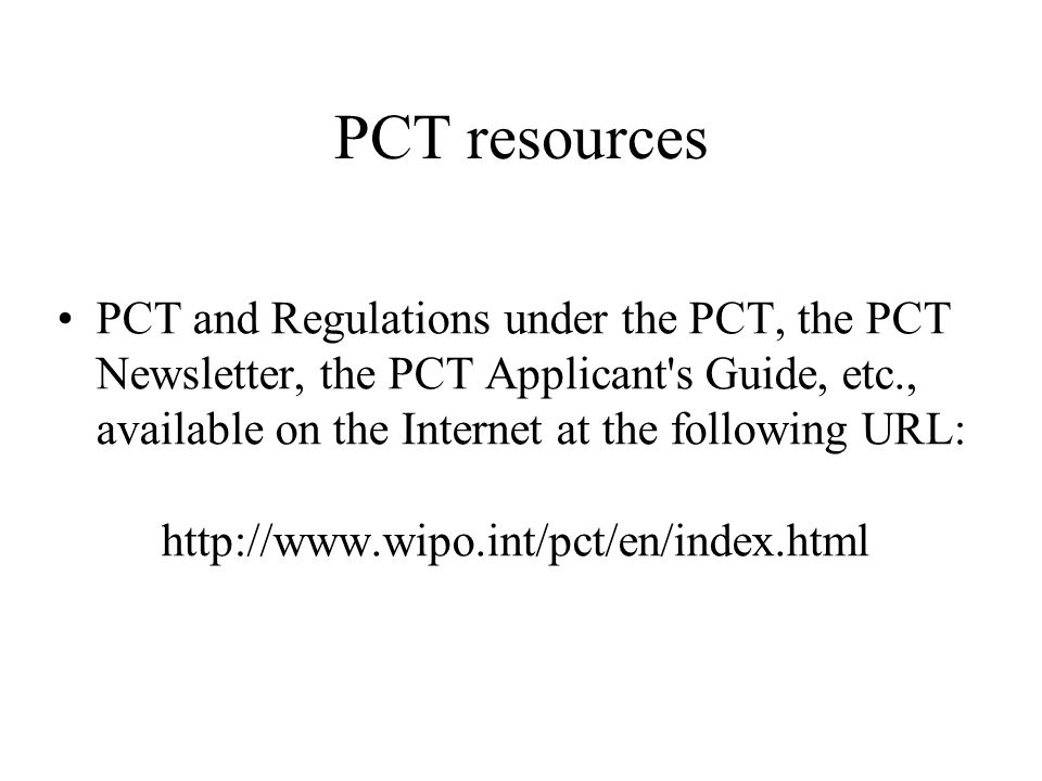 PCT resources
