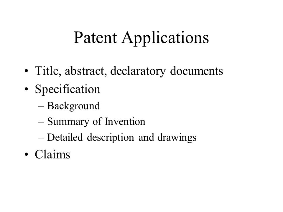 Patent Applications Title, abstract, declaratory documents