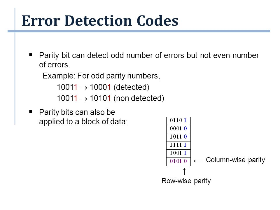 Error Detection Codes Parity bit can detect odd number of errors but not even number of errors. Example: For odd parity numbers,