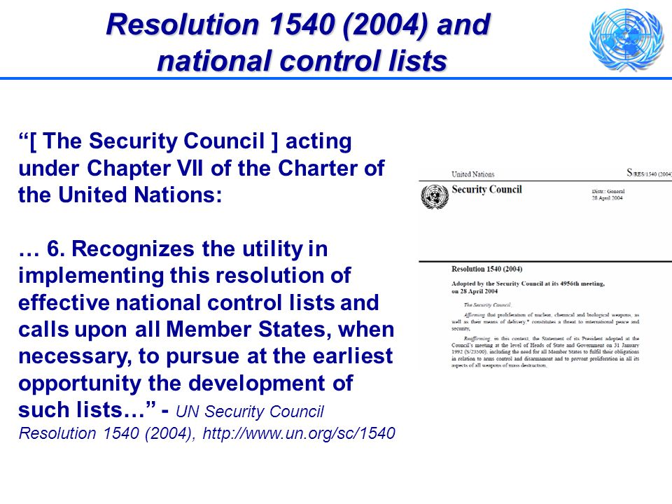 Resolution 1540 (2004) and national control lists
